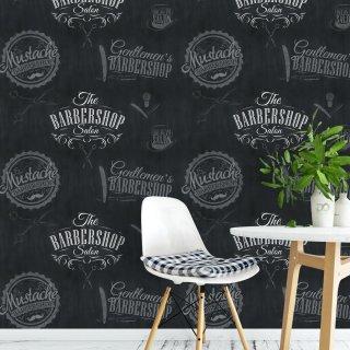 Barber Shop Wallpaper Black F703-049-1