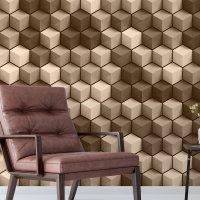 3D Cubes Wallpaper Brown FD-015-01