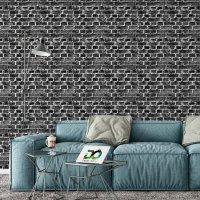 Black Stone Brick Effect Wallpaper FD-201-31