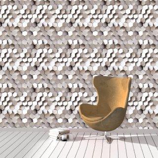 3D Metallic Hexagons Wallpaper FD-203-01