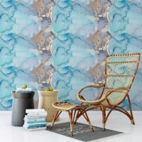 Blue - Turquoise Marble Pattern Wallpaper FD-205-05