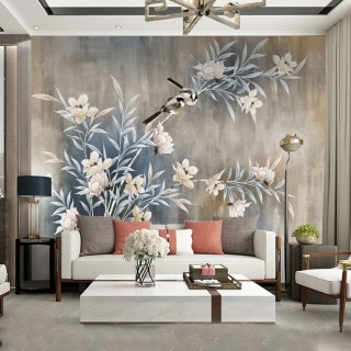 Wallpaper Flower Branches and Birds
