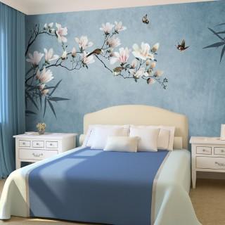 Birds and Butterflies on a Flower Branch Wallpaper