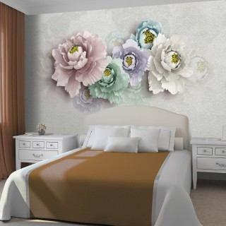 Flowers on the Wall with Soft Colors Wallpaper