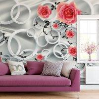Rings and Roses 3D Wallpaper 2
