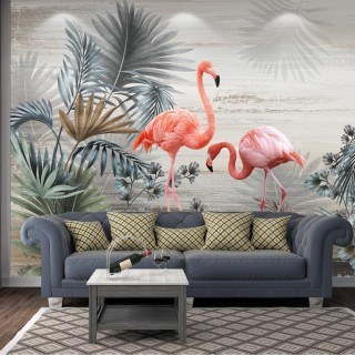 Flamingo Dark Backdrop Wall Poster