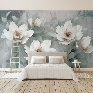 3D Effect Wallpaper of Leaves and Flowers