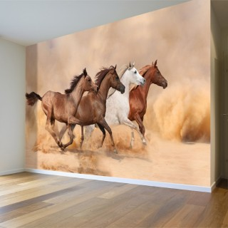 Horses Running in the Sand - Wall Poster
