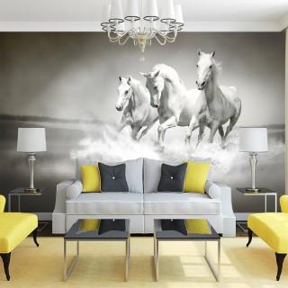 White Horses 3D Wallpaper