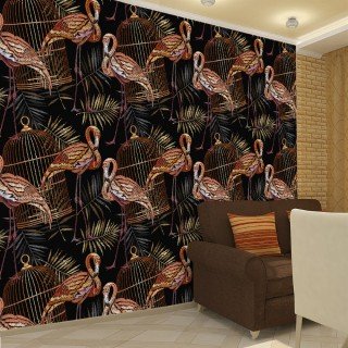 Embroidery Processing Flamingo 3D Wall Poster
