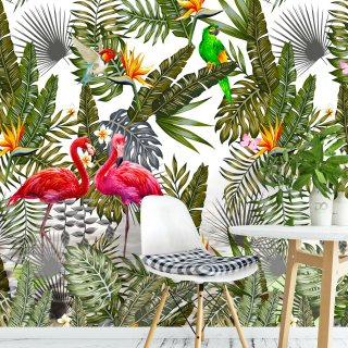 Amazon Flamingo Tropical Leaves Wallpapers