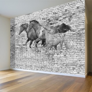 Brick Wall and Horses