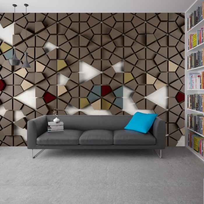 Honeycomb Wall Poster with Geometric 3D Effect