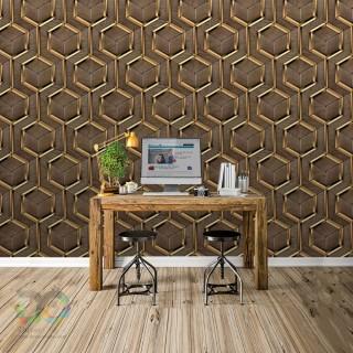 Geometric 3D Wood Effect Wallpaper