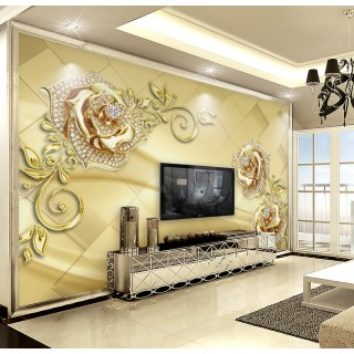 3D Diamond Flowers Wallpaper