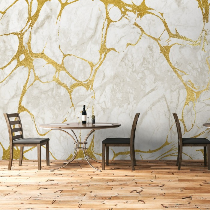 Gold Veined Marble Effect Wallpaper