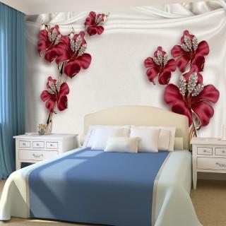 3D Burgundy Floral Wallpaper