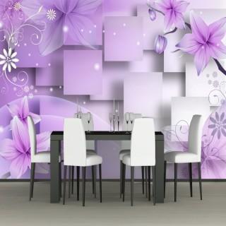 3D Purple Flowers Wallpaper