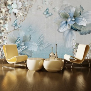 3D Flower and Butterfly Wall Poster
