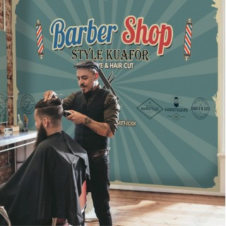 Custom Design Barbershop Wallpaper