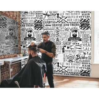 Barbershop Wallpaper - Black and White