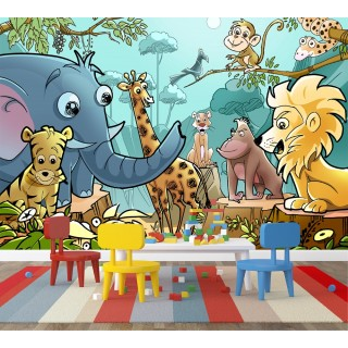 Jungle Animals Kids Room Wall Poster
