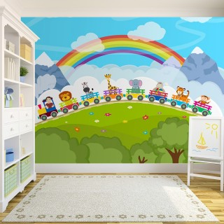 Animals on a Rainbow Train Children's Room Wall Poster