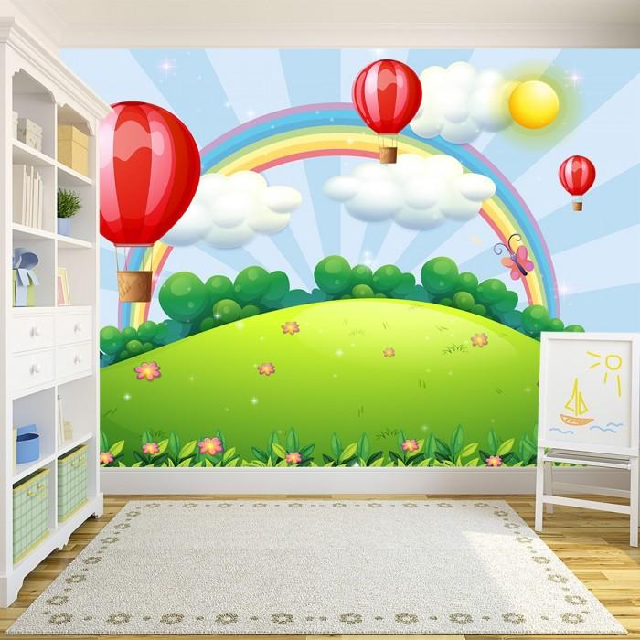 Rainbow Flying Balloons Kids Room Wall Poster