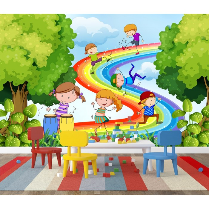 Kids Above the Rainbow Wall Poster