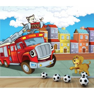 Cat in the Fire Department Kids Room Wall Poster