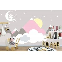 Soft Mountain and Fairy Kids Room Wall Poster