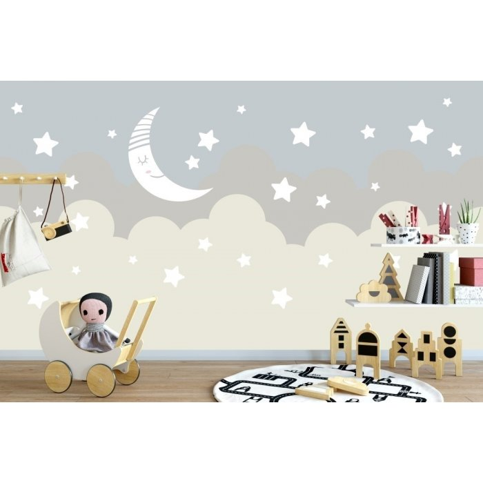 Moon Star and Clouds Kids Room Wall Poster