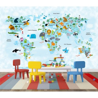 World Map for Kids Room 04