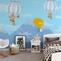 Mountain Sun and Balloon Kids Room Poster Blue