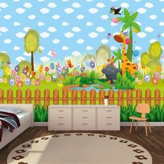 Cute Animals Kids Room Wallpaper