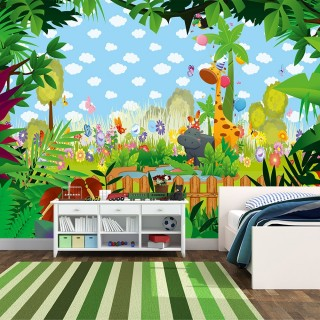 Cute Animals and Branches Kids Room Wallpaper