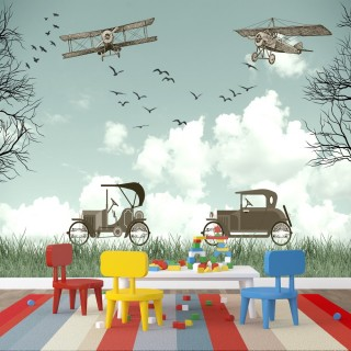 Antique Airplane and Cars Kids Room Wallpaper