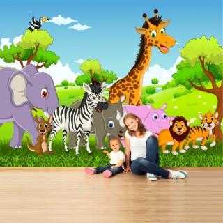 Cute Animals On Walk Kids Room Wallpaper