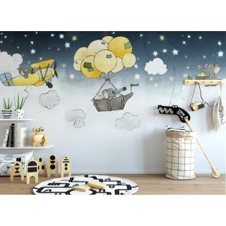 Cute Cartoon Elephants Kids Room Wallpaper