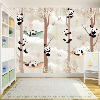 Pandas in the Forest Wallpaper