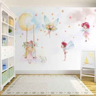 Cute Fairies Girl Room Wallpaper