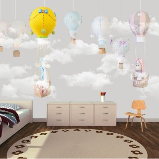 Balloons Soft Kids Room Wallpaper Gray