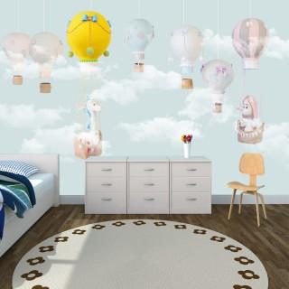 Balloons Soft Kids Room Wallpaper Blue