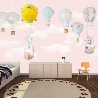 Balloons Soft Kids Room Wallpaper Pink
