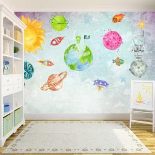 Fun Space Kids Room Wallpaper