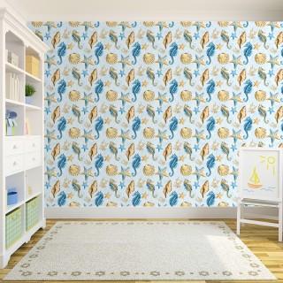 Sea Horse Kids Room Wallpaper