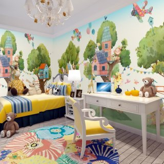 Tree Houses and Cute Animals Kids Room Wallpaper