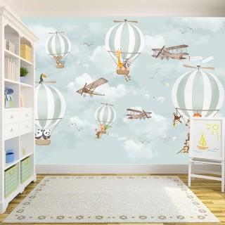 Balloons Animals Kids Room Wallpaper