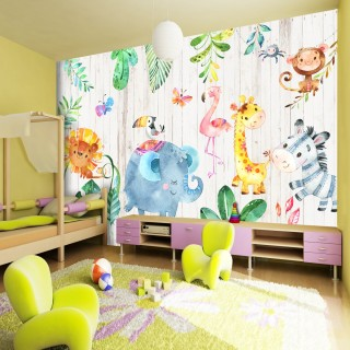 Cute African Animals Kids Room Wallpaper