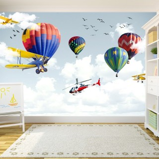 Balloons Airplanes Kids Room Wallpaper